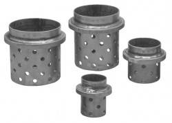 Perforated stainless steel flask with ring - ø 100 x 250h. mm.