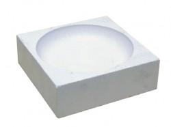 Square refractory crucible for direct flames - 70 x 70 x 21 mm